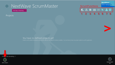 ScrumMaster home page menus
