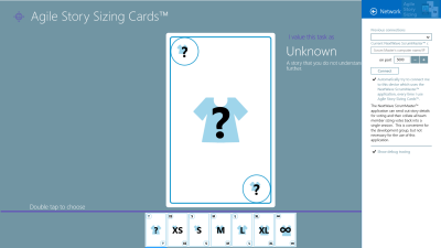 Agile Story Sizing Cards Tablet Connection