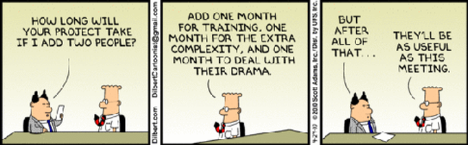 Dilbert on Project Planning Resources and Reality