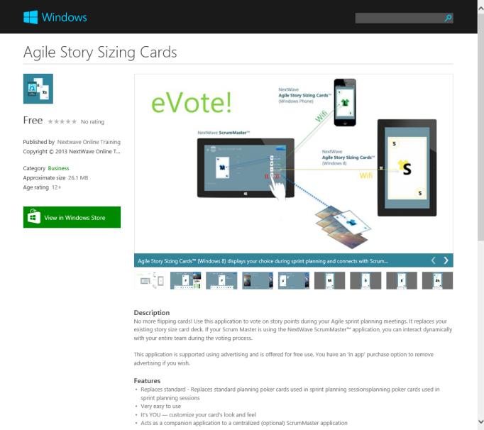 Windows 8 Agile Story Sizing Cards