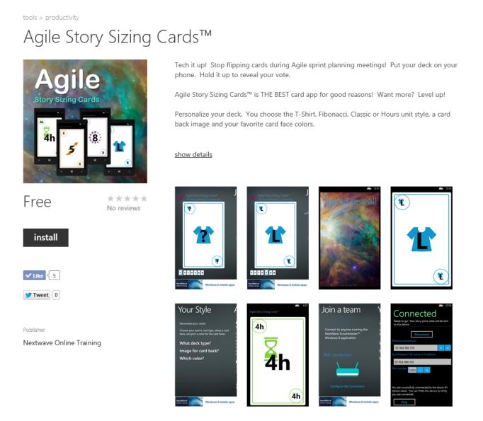 Windows Phone Agile Story Sizing Cards